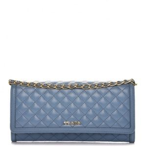 PRADA Soft Calf Quilted Chain Wallet Astrale